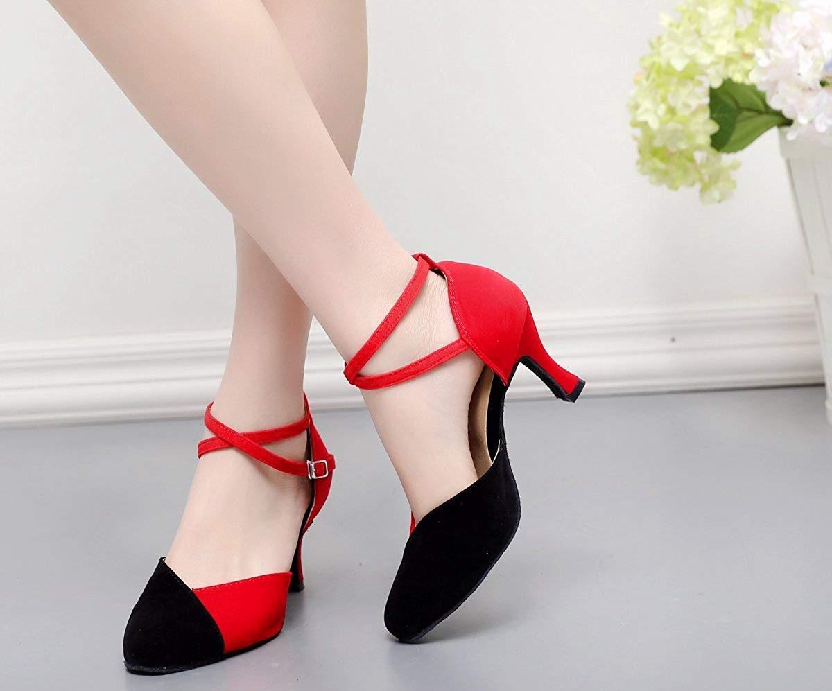 Qiusa TJ7136 Damen Damen Damen Mädchen Knöchelriemen Rot Wildleder Latin Dancing Schuhe Formale Partei Pumps UK 5.5 (Farbe   - Größe   -) b2eb90