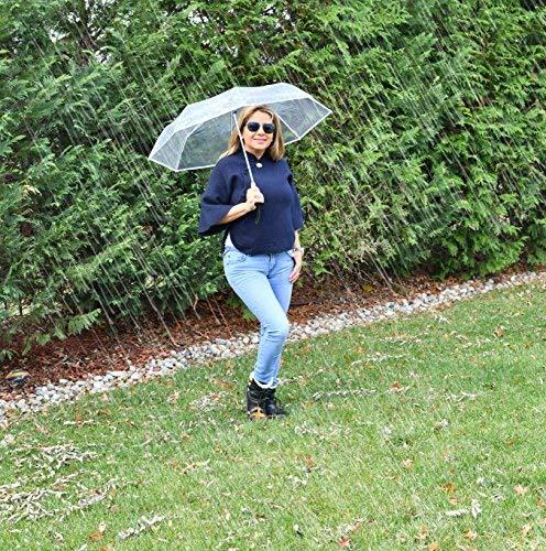 HappyGo Full Automatic Folding Transparent Clear Auto Open Travel Umbrella for Women Girls Black 8 ribs