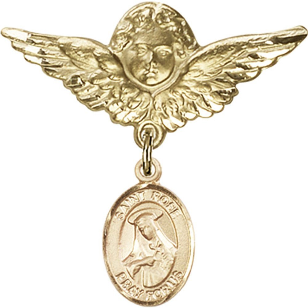 Gold Filled Baby Badge with St. Rose of Lima Charm and Angel w/Wings Badge Pin 1 1/8 X 1 1/8 inches by Bonyak Jewelry Saint Medal Collection