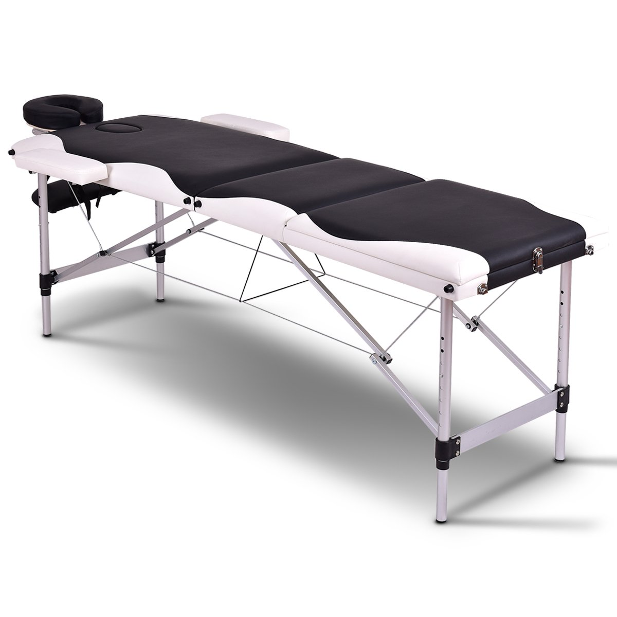 Giantex 72L 2 Section Portable Massage Table Aluminum Facial SPA Bed Tattoo w/Free Carry Case, Black
