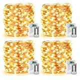 4 Pack 100 LED String Lights Battery Operated Fairy Lights 33ft Waterproof 8 Modes Remote Control Timer Copper Wire Firefly Lights for Patio Bedroom Wedding Christmas Decor Warm White