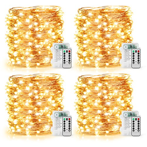 4 Pack 100 LED String Lights Battery Operated Fairy Lights 33ft Waterproof 8 Modes Remote Control Timer Copper Wire Firefly Lights for Patio Bedroom Wedding Christmas Decor Warm White by MLambert