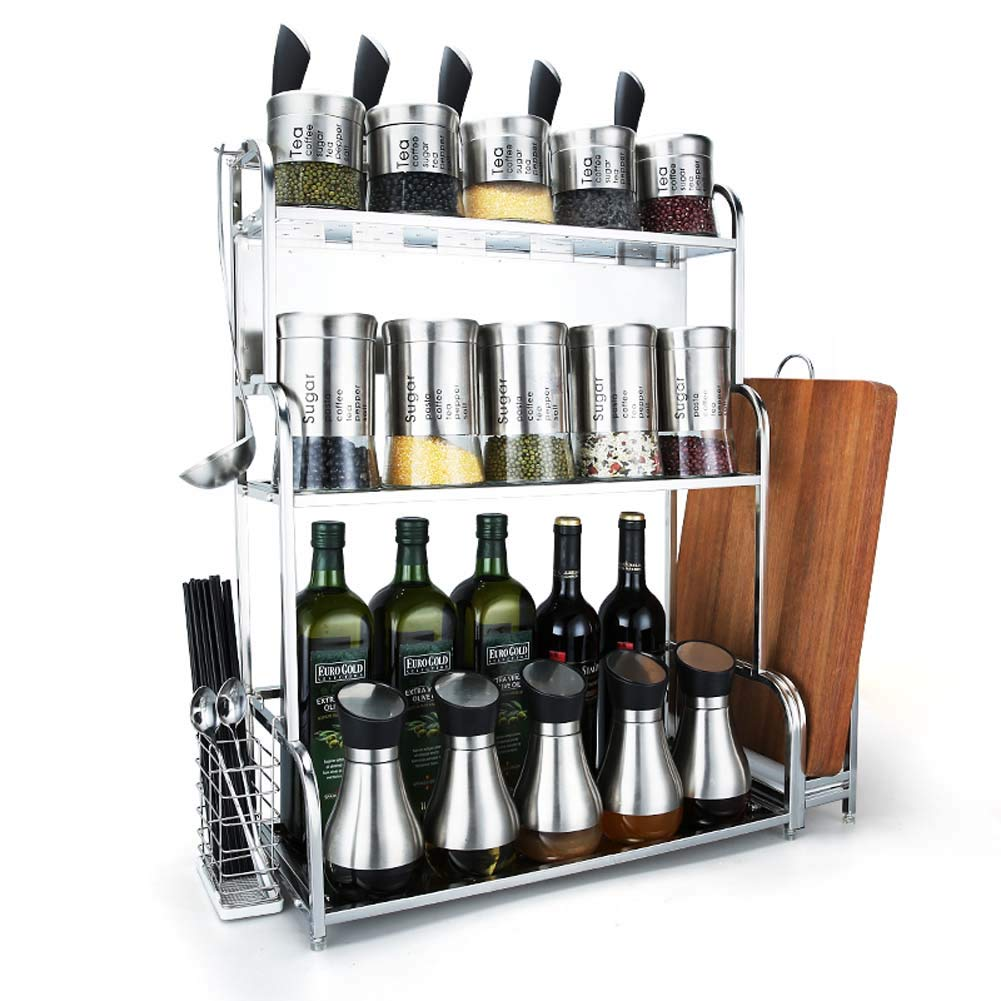 3-Storey Kitchen Counter Storage Rack for Seasoning Tank Storage, Can Be Used in The Bathroom 50 x 22 x 67 cm
