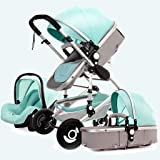 3 in 1 Pushchair Stroller Baby Stroller Pram Carriage Stroller,Travel System Baby, Compact Convertible Luxury Strollers (Color : Green)