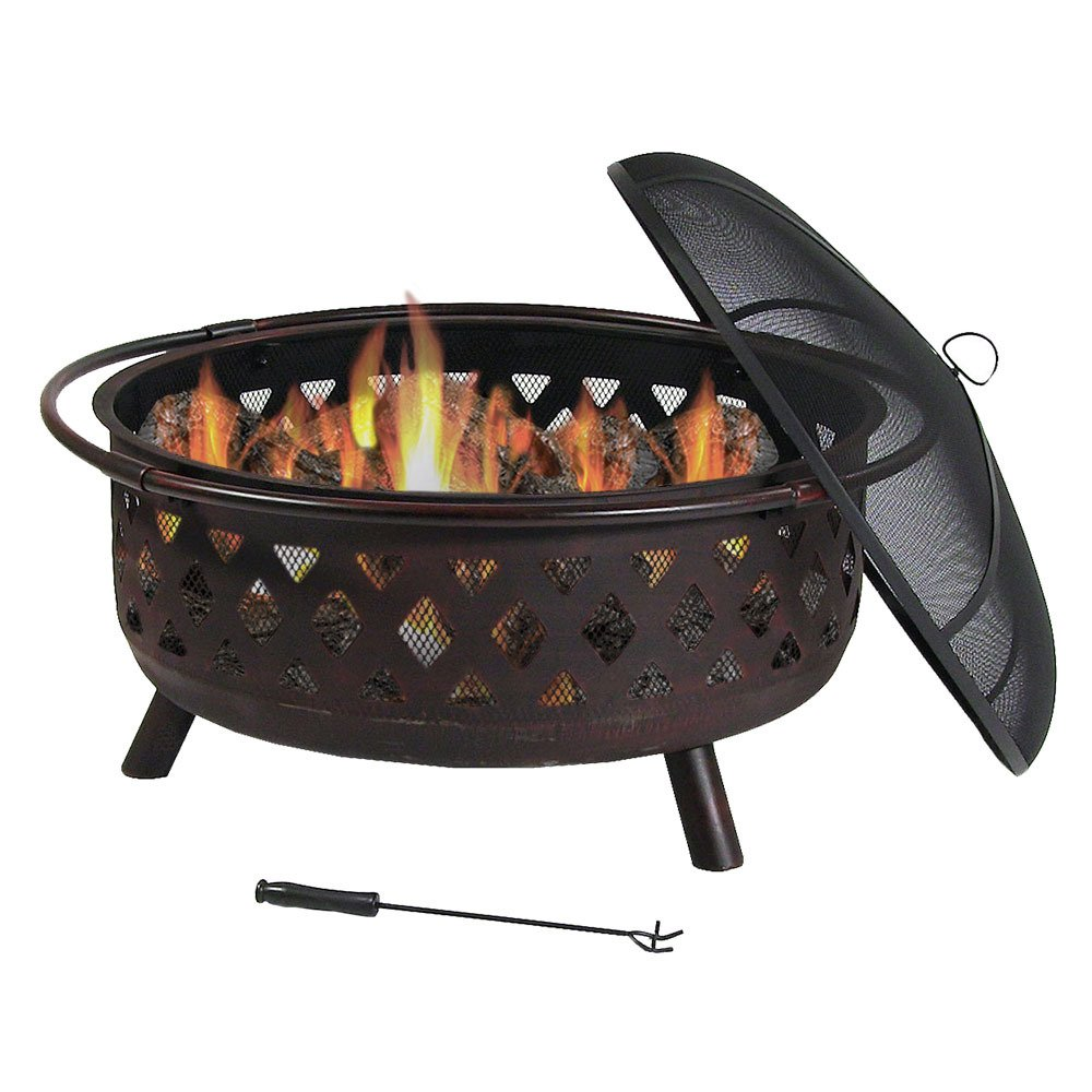 Sunnydaze 36 Inch Large Bronze Crossweave Fire Pit with Spark Screen Sunnydaze Decor 1506-610037D
