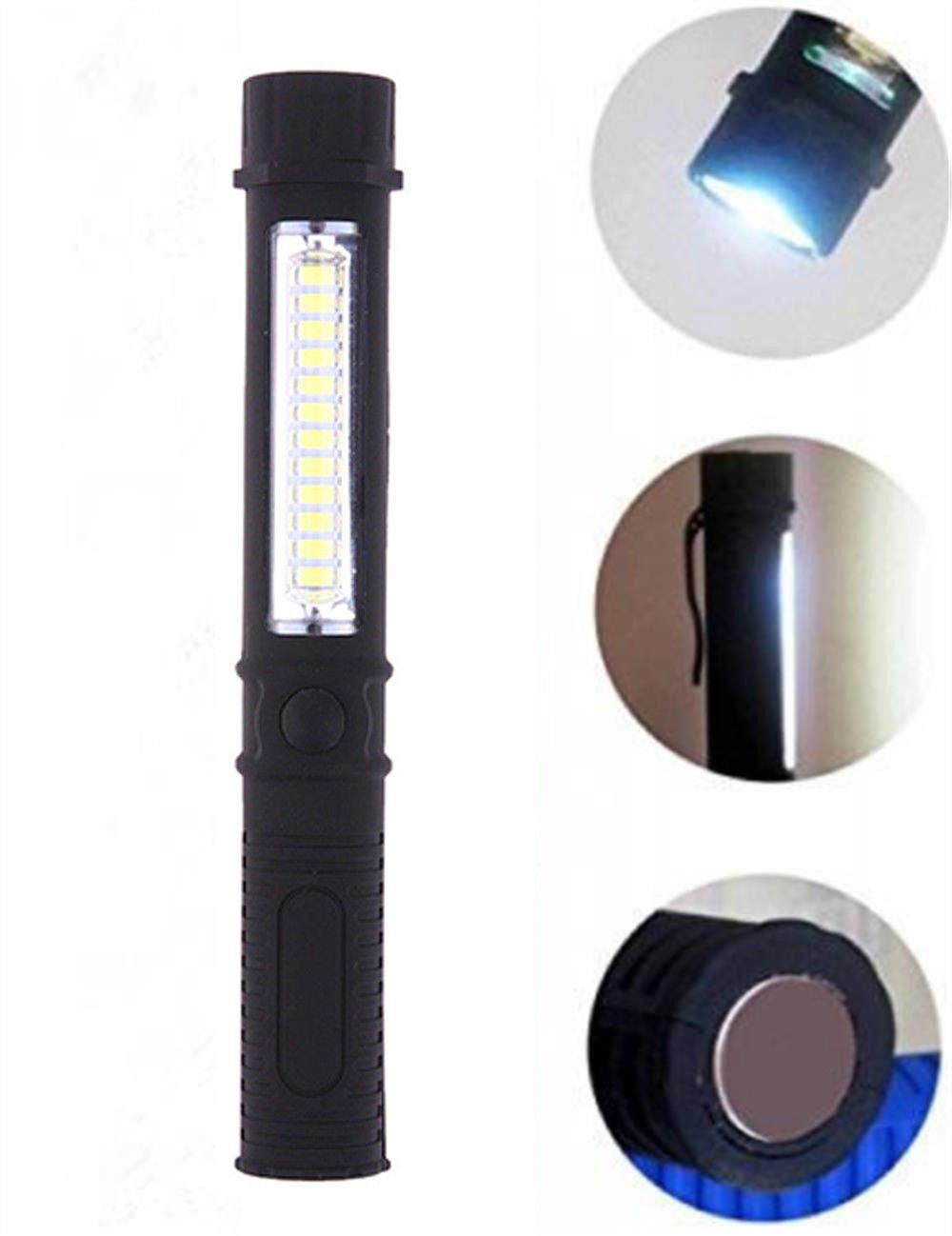 COB LED Pocket Pen Light Inspection Work Light Flashlight Torch With Clip