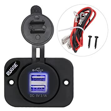 Rupse Cargador USB para Coche con Cable DE 12 V, Enchufe de Alimentación para Motocicleta, Barco, RV, Camión, Coche
