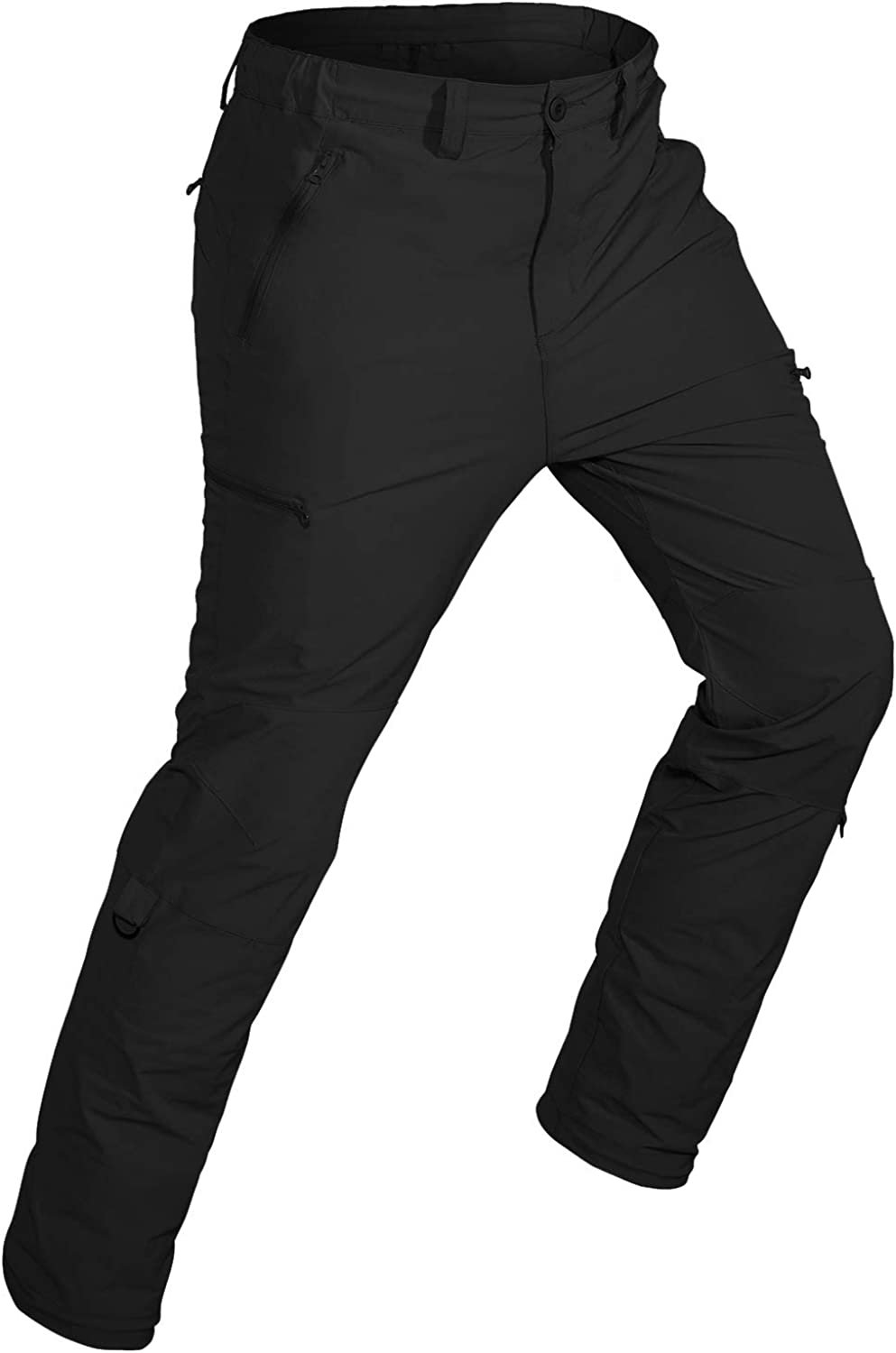 Wespornow Men's-Hiking-Pants Quick Dry Lightweight Stretchy Outdoor Camping Travel Roll-up Pants with 5 Zipper Pockets