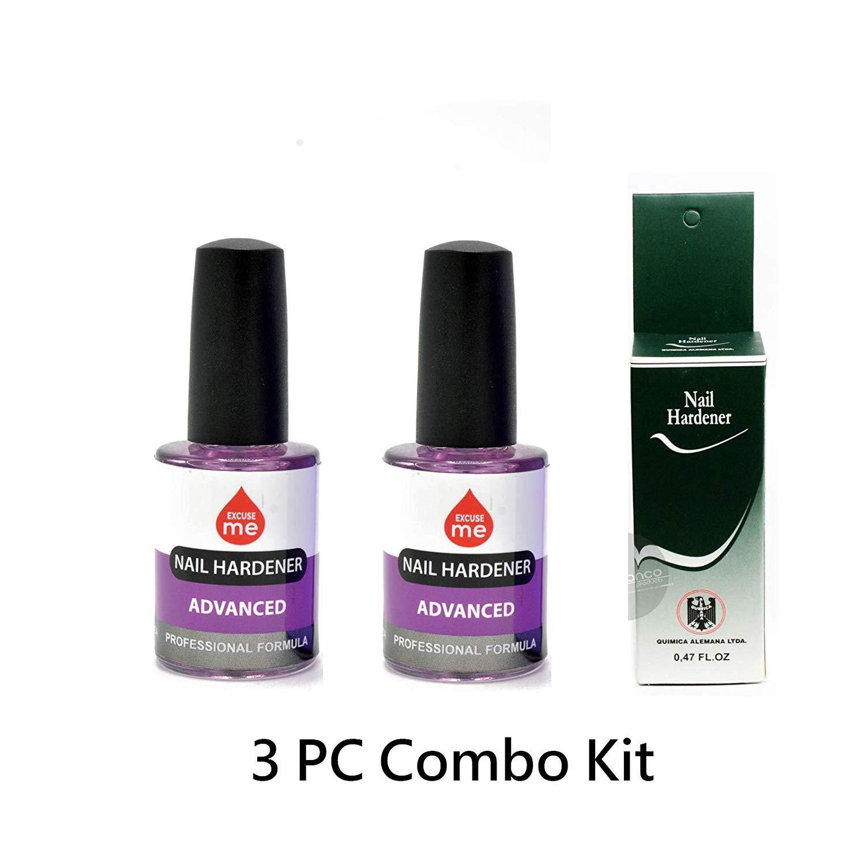 1 Pc Quimica Alemana Nail Hardener Strengthener 0.47 oz & 2 pc Excuse me Advanced Formula Nail Hardener 0.5 oz
