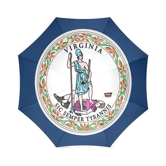Paraguas de viaje para amigos, hermanas, hermanos, regalos, diseño de la bandera del estado de Virginia, compacto, plegable, resistente al agua, ...