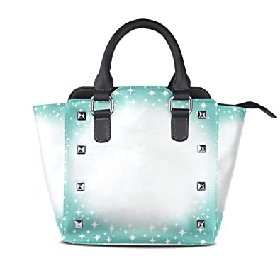 4a6c3a1a0f2 Image Unavailable. Image not available for. Color: Handbags Sparkling Winter  Christmas Womens Genuine Leather Vintage Tote Shoulder Bag Top-handle ...