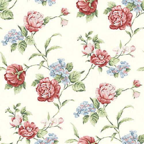 Chesapeake CG97062 Gleason Floral Rose Trail Wallpaper, Ivory