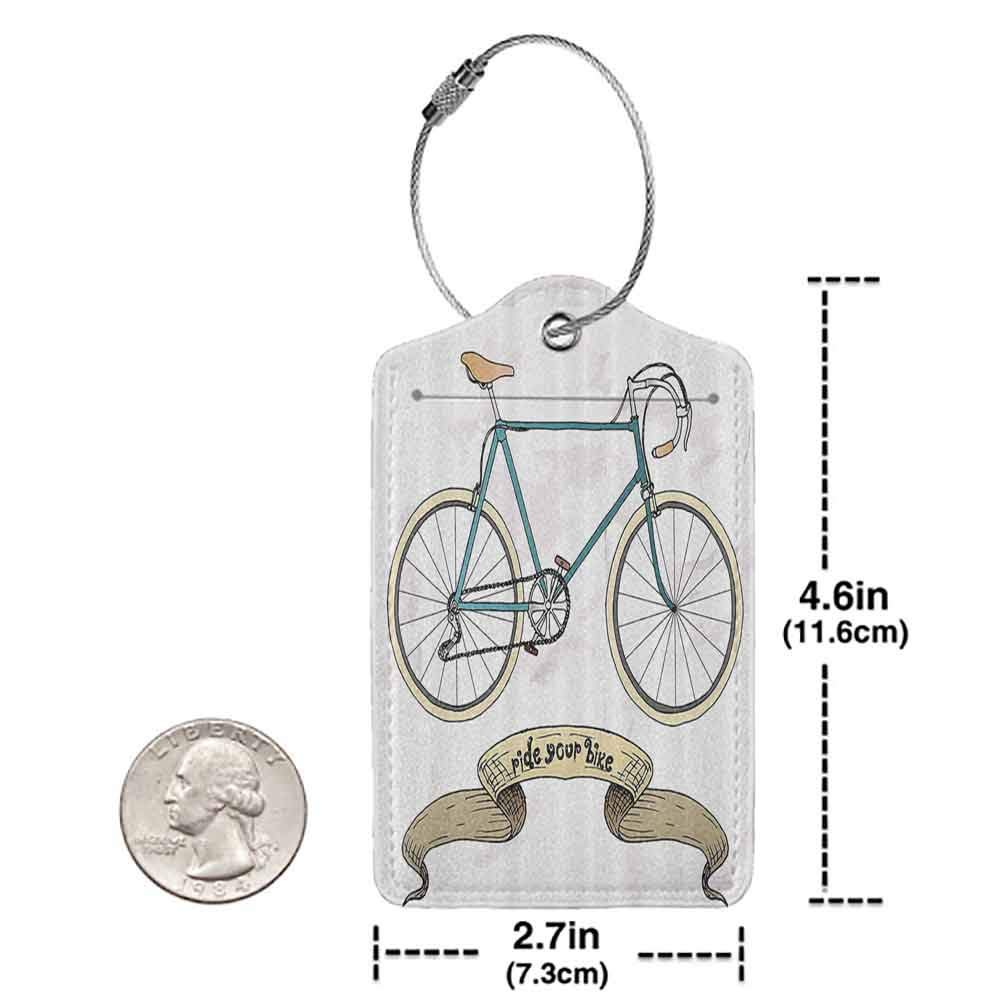 Decorative luggage tag Retro Ride Your Bike Theme Hipster Handdrawn Bicycle and Ribbon Print Suitable for travel Sand Brown and Petrol Blue W2.7 x L4.6