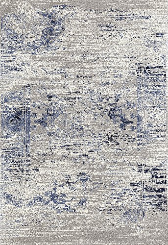 (ADGO Ravenna Collection Modern Contemporary Elegant Stylish Vintage Design Live Vivid Color Jute Backed Area Rugs Tall Pile Height Soft and Fluffy Indoor Floor Rug, Blue Grey, 5' x 9')