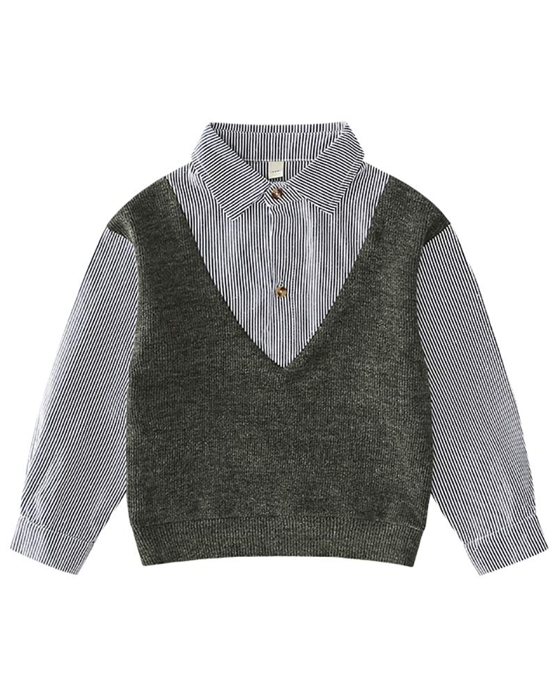 LISUEYNE Boys Two Piece Dress Shirt with Sweater Vest Grey Age 13-14