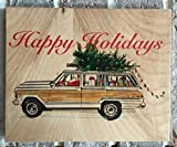 White Jeep Grand Wagoneer Vintage SUV Holiday Collection- Wood Block Art