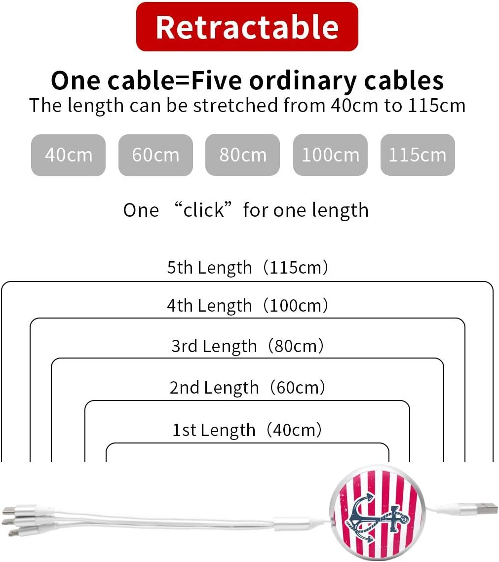 Anchor Symbol 3 in 1 USB Multi Function Charging Cable Data Transmission USB Cable for Mobile Phones and Tablets Compatible with Various Models with Storage Bag
