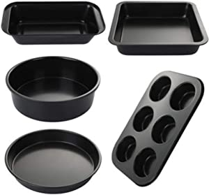 Non-stick Carbon Steel Cake Pan, Pizza Tray, Bread Box, Toast Pan Set (5 Pieces) AYUYU (Color : Black)