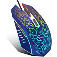 VersionTECH. Wired Gaming Mouse, Ergonomic USB Optical Mouse Mice with Chroma RGB Backlit, 1200 to 3600 DPI for Laptop PC Computer Games & Work –Blue