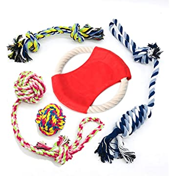BOHAI Pets Puppy Dog Pet Rope Toys for Small to Medium Dogs (Set of 5)
