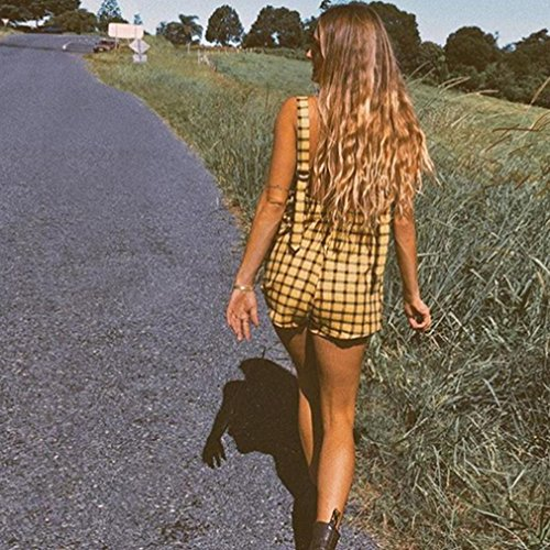 Salopette da Giallo Donna Estate Partito Lino Spiaggia vita Jumpsuit Sciolto Pagliaccetto Mini Shorts Jumpsuit cotone Elegante feiXIANG Tuta Lungo donna Pantaloncini Elastico Estivo 7qwxIn1Xdx