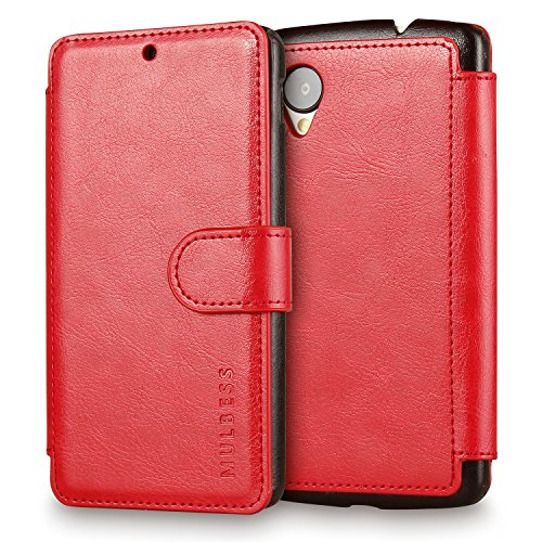 Nexus 5 Case Wallet,Mulbess [Layered Dandy][Vintage Series][Wine Red] - [Ultra Slim][Wallet Case] - Leather Flip Cover With Credit Card Slot for LG Google Nexus 5