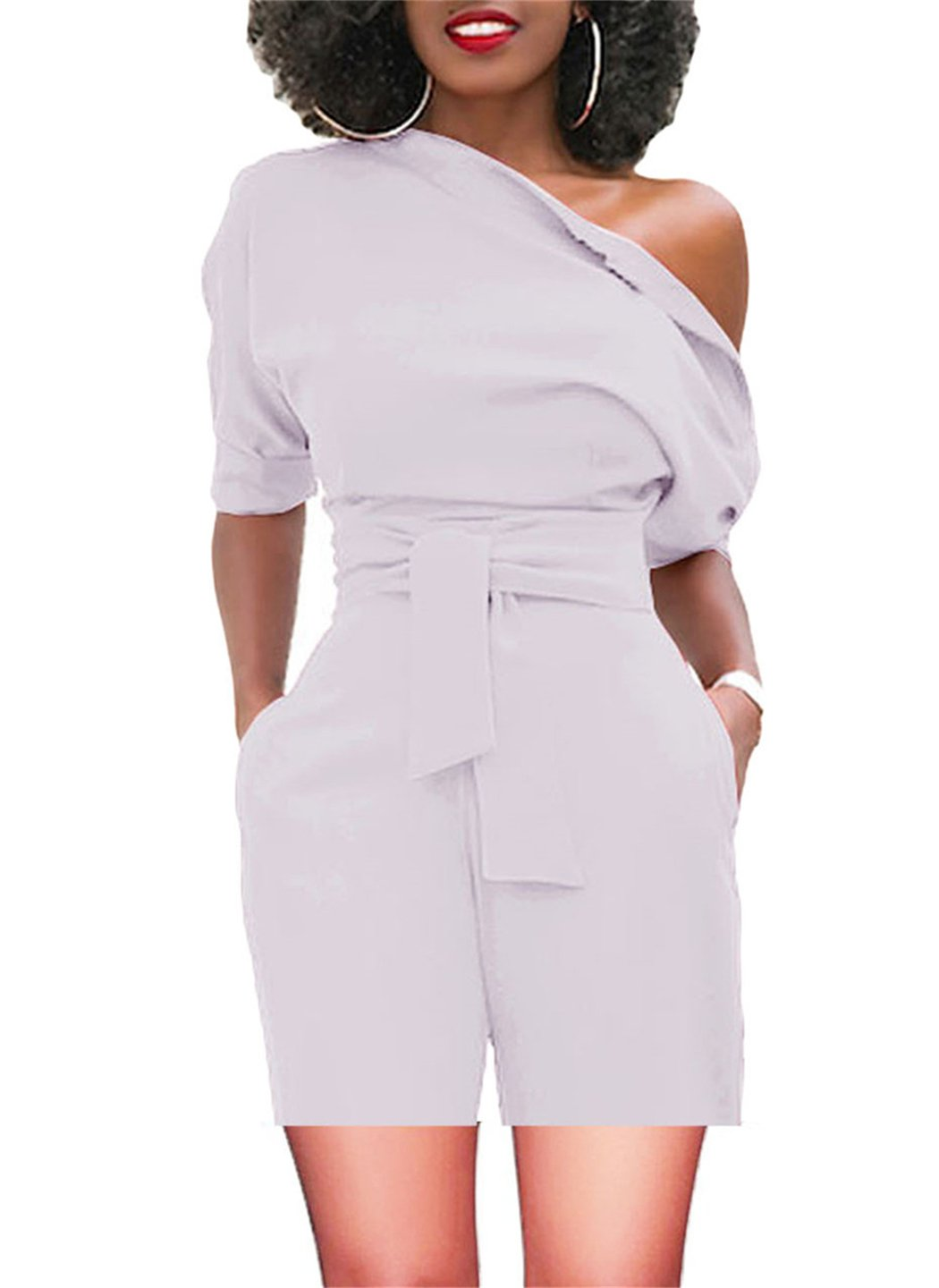 Women's Retro Jumpsuits High Waisted with Belt One Off Shoulder White Large
