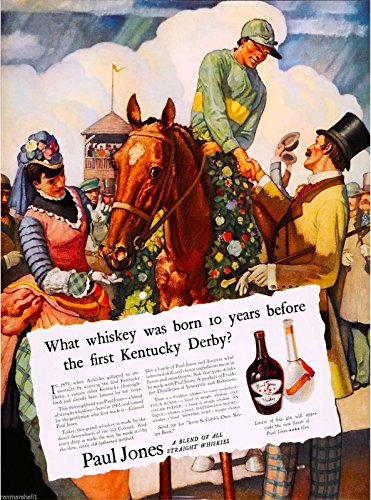 Whiskey Advertisement - A SLICE IN TIME 1935 Louisville Kentucky Horse Race Bourbon Whiskey Travel Advertisement Art Poster Print. Measures 10 x 13.5 inches