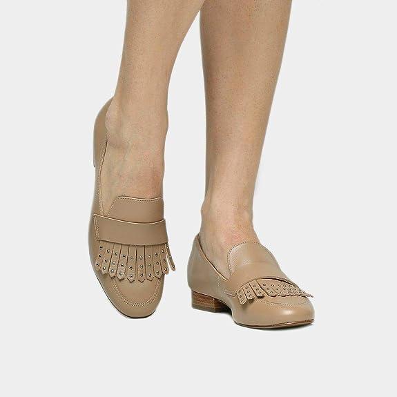 047610c5f4 Mocassim Couro Shoestock Franja Apliques Feminina - Nude - 33   Amazon.com.br  Amazon Moda