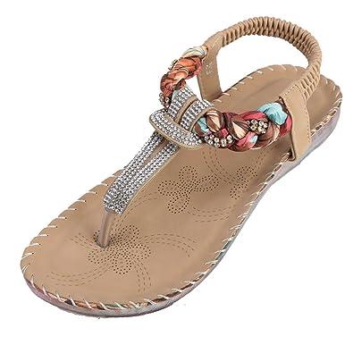368cdcdee3ef Zicac Women s Rhinestone Thong Sandals Elastic Slingback Strap Flat Shoes  Apricot
