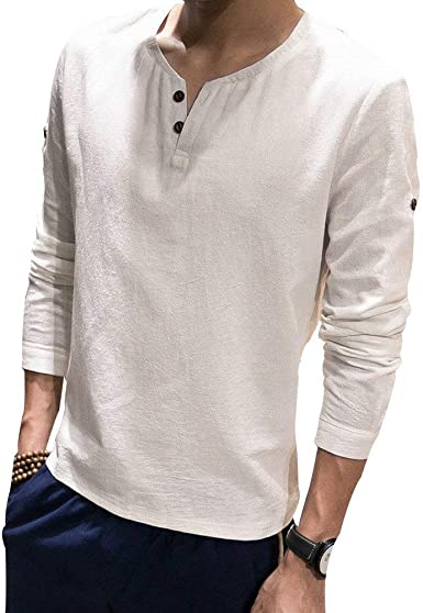 Camiseta Holgada De Algodón De Manga Larga Camiseta para Manga Hombres Único Larga De Cuello Alto De Lino para Hombres De Cama De Algodón Liso De Color Sólido: Amazon.es: Ropa y accesorios