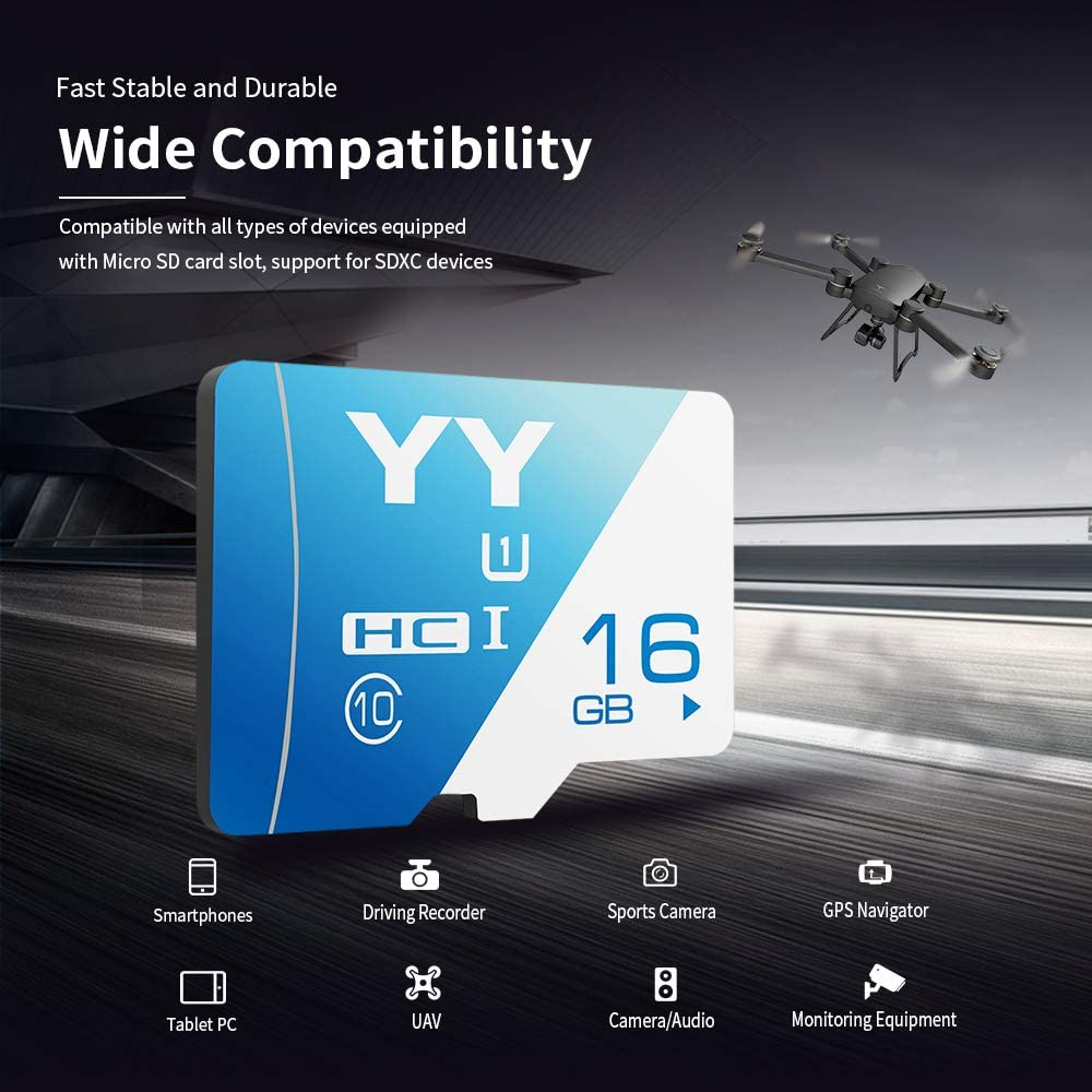 Docooler Memory Card 16GB Large Capacity Class 10 TF Card Flash TF Card Data Storage High Speed for Smartphone