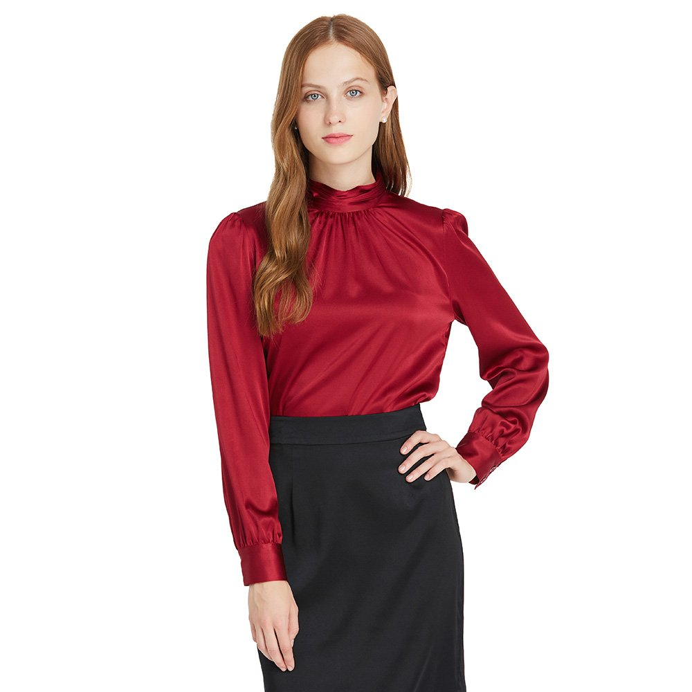 LilySilk Silk Blouses For Women Long Sleeve 100 Mulberry Charmeuse 19MM Retro Style Ladies Royal Top Claret XL/14-16