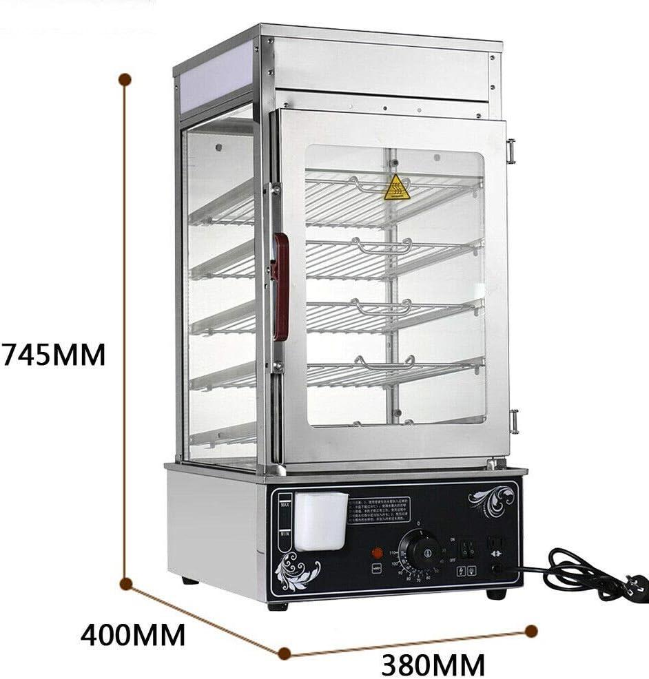 Munsinn 5 Layers Bun Steamer, Electric Commercial 60 Bun Warmer Cooker Steamer Food Display Machine
