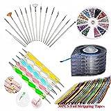 JOYJULY Nail Art Kit includes 30 Striping tape & 5Pcs Striping Roller Box & 12 Colors Rhinestones & 5pcs Dotting Pen & 15pcs Brush Set