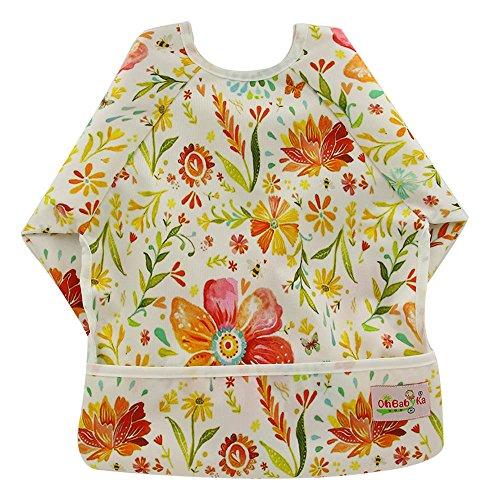 OHBABYKA Waterproof Baby Sleeves Bib,Bib with Sleeves&Pocket, 6-24 Months (Flowers)