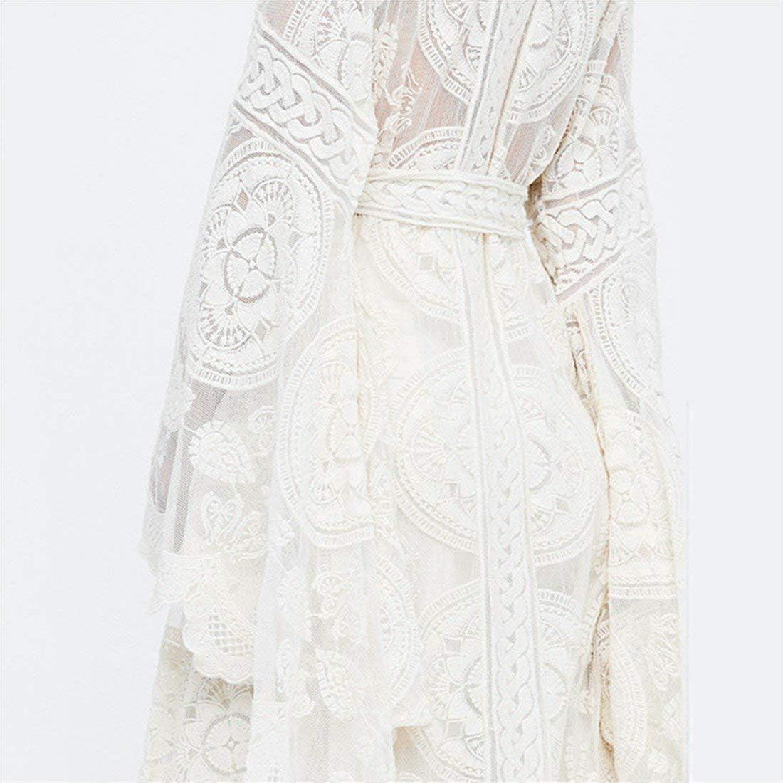 Cardigan di Pizzo Bianco da Donna Casual Stile Bohemien all Giovane Abiti da Festa Uncinetto Estate Lungo Mantello Moda 2019 Vestiti da Donna