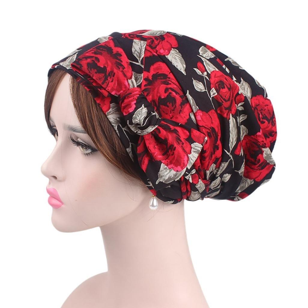 squarex Frauen Indien Muslim Stretch Retro Print Baumwolle Turban Hat Kopf Schal Wrap Gap