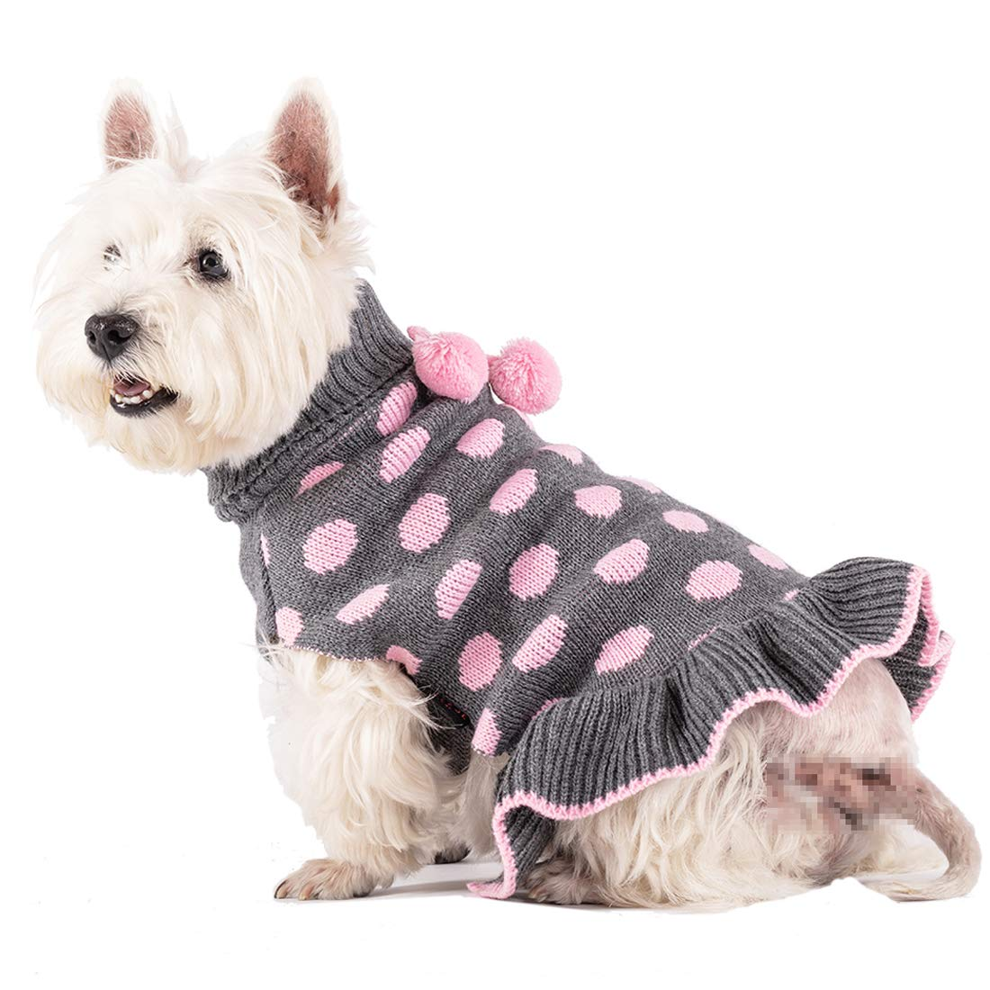 kyeese Dog Sweater Dress Polka Dot Turtleneck Dogs Sweaters Pink Knit Pullover with Pom Pom Ball by kyeese