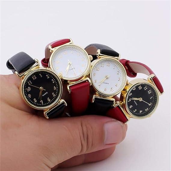 JiaMeng Amistad Pulsera Relojes de Cuero de la Correa de Cuero de la Piel Reloj de los Hombres Relojes de los Amantes de Cuarzo Reloj de la Mujer(Black1): ...
