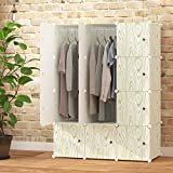 KOUSI Portable Closet Wardrobe Organizer Clothes Armoire Cube Storage Dresser for Bedroom, Large & Study, Green Wood Grain Pattern, 6 Cubes&2 Hanging Sections