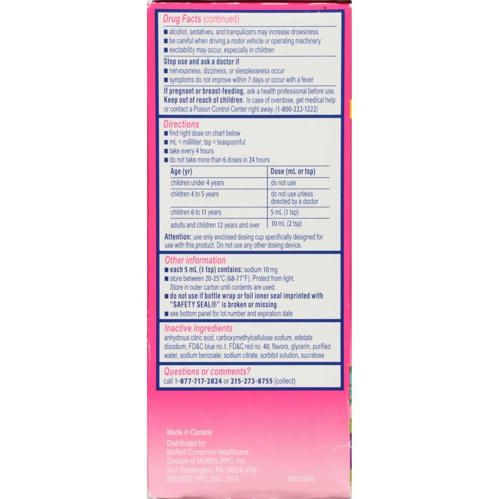 Childrens Benadryl Allergy Plus Congestion Grape Flavored Liquid 4 fl oz. Box -- 24 per case. by Johnson & Johnson