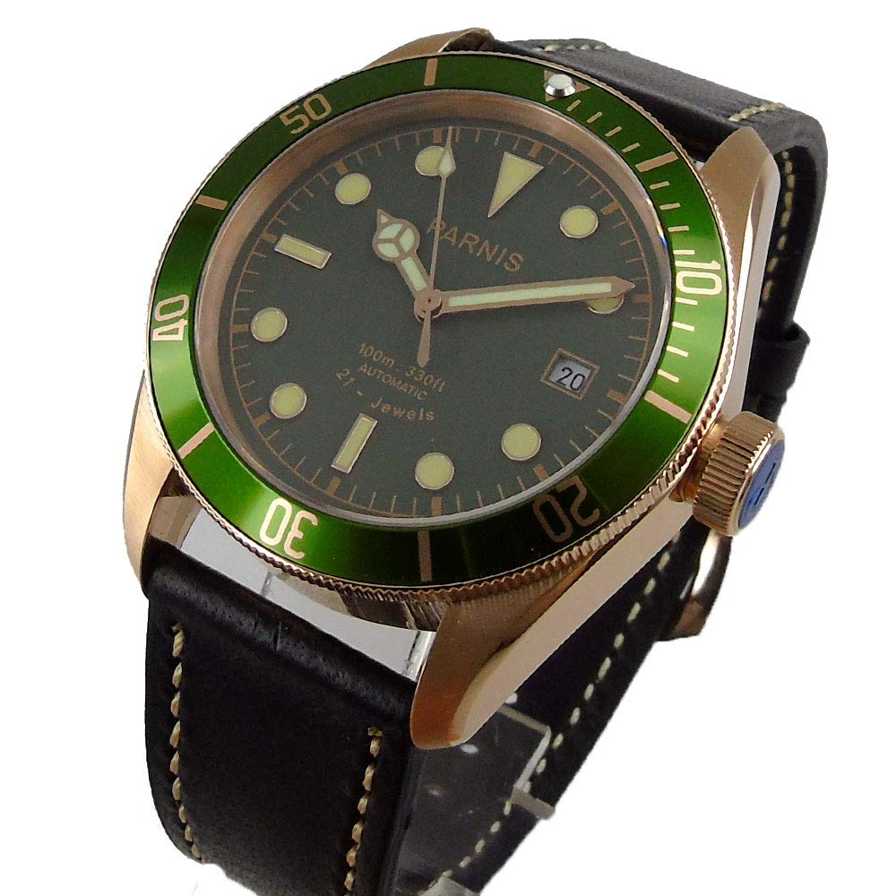 a4bb0dcf958 Parnis 41mm Green Dial Rose Gold Coated Case Sapphire 21 Jewels Miyota Automatic  Movement Men s Watch  Amazon.co.uk  Watches