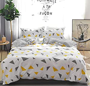 100% Cotton Duvet Cover Set King Size Geometry Pattern 3 Pieces - 1x Comforter Cover, 2x Pillowcases ( No Insert ) - Zipper Closure Modern Colorful Triangle Print Bedding Hypoallergenic Breathable