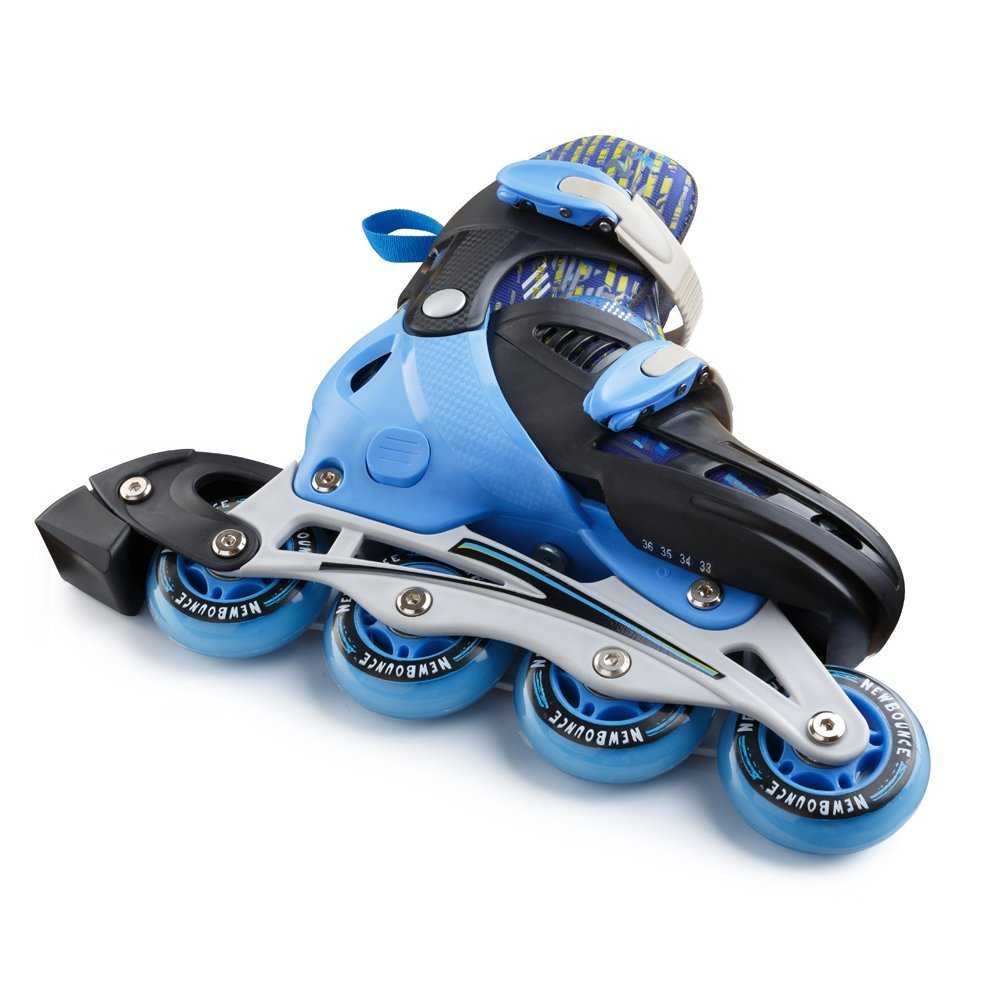 New Bounce Adjustable Inline Skates for Kids – 4 Wheel Blades Roller Skates for Boys, Girls, Teens, and Young Adults Outdoor Rollerskates for Beginners Advanced Blue