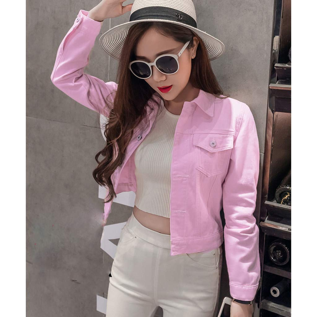 QUINTRA Casual Loose Blouses Long Sleeve Tops Lapel Solid Denim Cardigan Buttons Outwear Blazer Jeans Jacket Coat Women