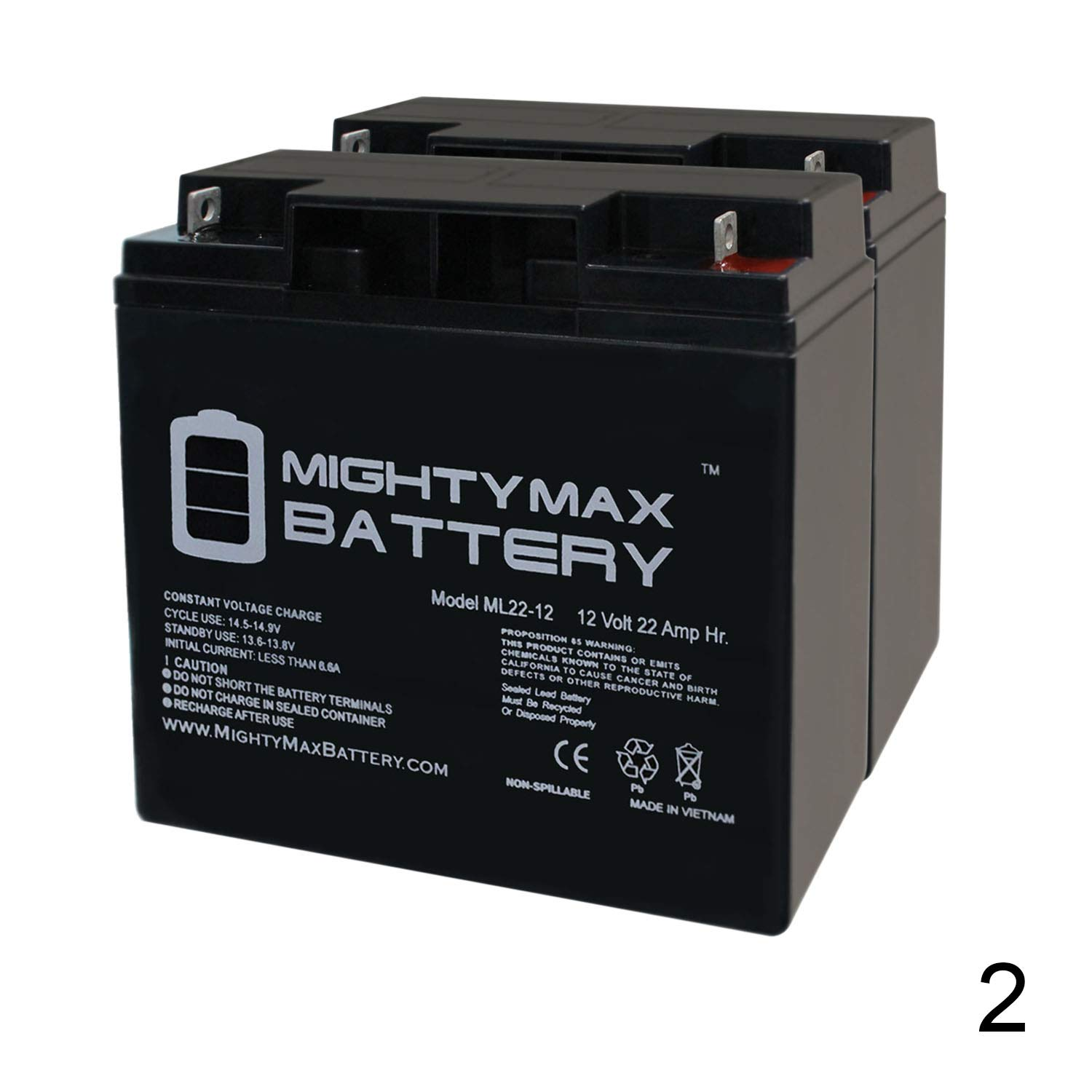 Mighty Max Battery ML22-12 - 12V 22AH Rascal 320, 500 T, 500T Battery - 2 Pack Brand Product by Mighty Max Battery
