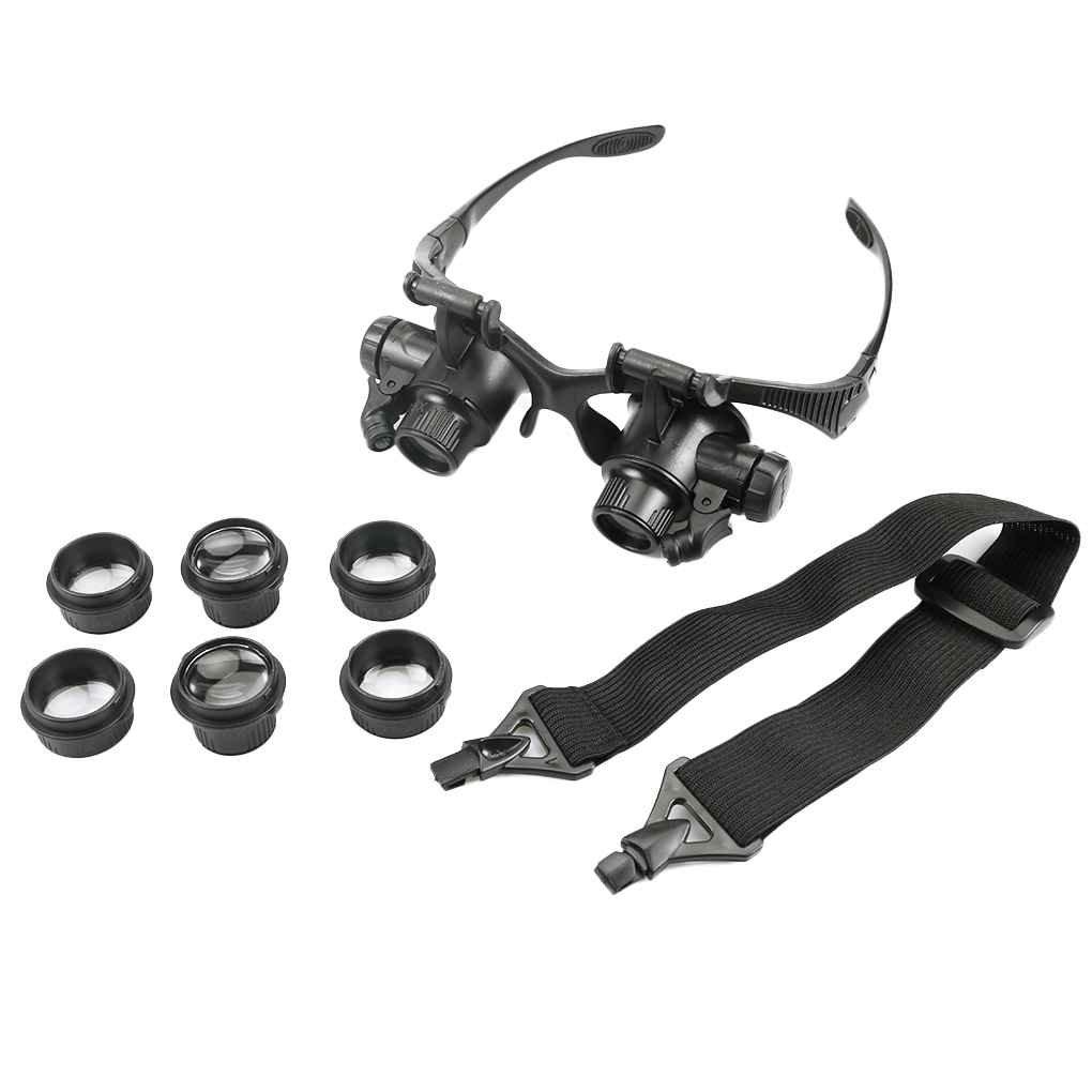 Loupes 10X 15X 20X 25X Bijoux Eye Réparation de montre Lunettes Loupe avec 2 Microscope LED Lights