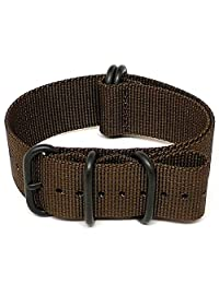 DaLuca Ballistic Nylon NATO Watch Strap - Brown (PVD Buckle) : 24mm