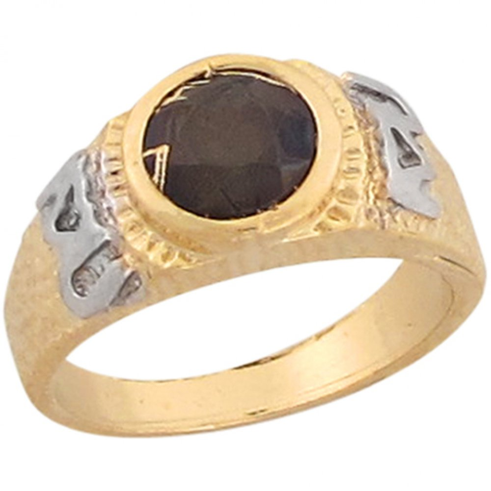 14k Two Tone Gold Black CZ I Love U Unique Aztec Design Baby Ring by Jewelry Liquidation (Image #1)